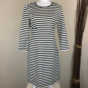 KATE SPADE | Black + White Striped Midi Dress Mod